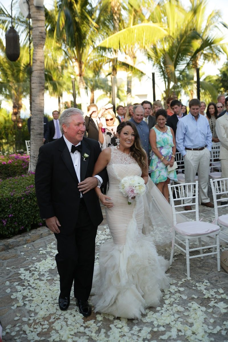 Brides Processional With Father Cabo Weddings One And Only Palmilla Elena Damy Event Design Chris
