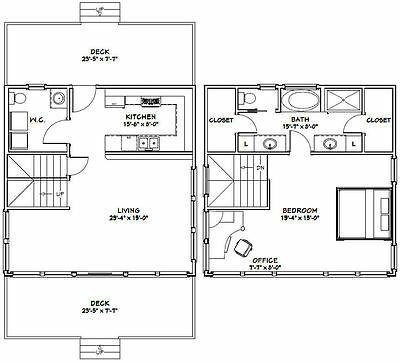 Details about 24x24 House -- 1 Bedroom 1.5 Bath -- PDF ...