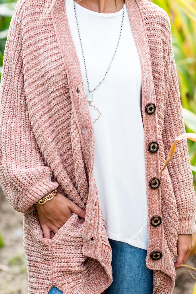 Created Comfort Blush Pink Chenille Cardigan – Created Comfort Blush Pink Chenille Cardigan