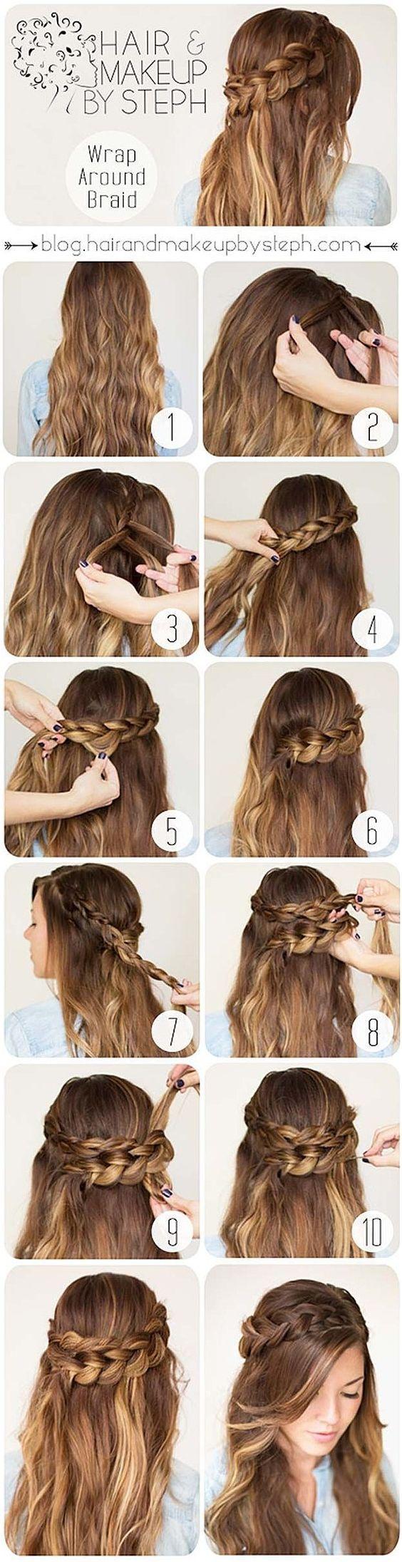coiffure simple et rapide pour cheveux long Coiffure