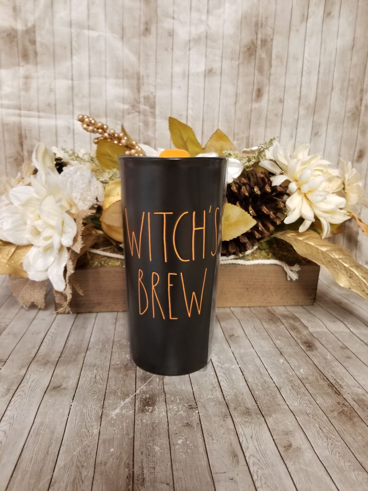 New Rae Dunn Black and orange witchs brew tumbler travel