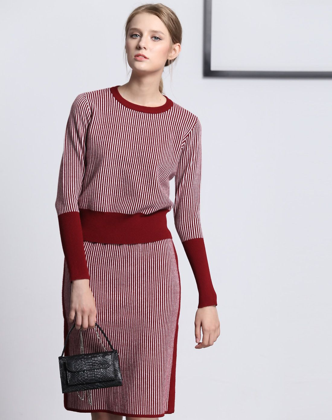 07c5d525cc3b  AdoreWe  VIPme Co-Ords - Fantiow Red Long Sleeve Sleeve   Matched Midi