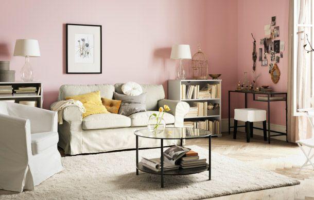 Ruang tamu dengan tempat duduk IKEA, meja, storan, tekstil dan - hemnes wohnzimmer weis