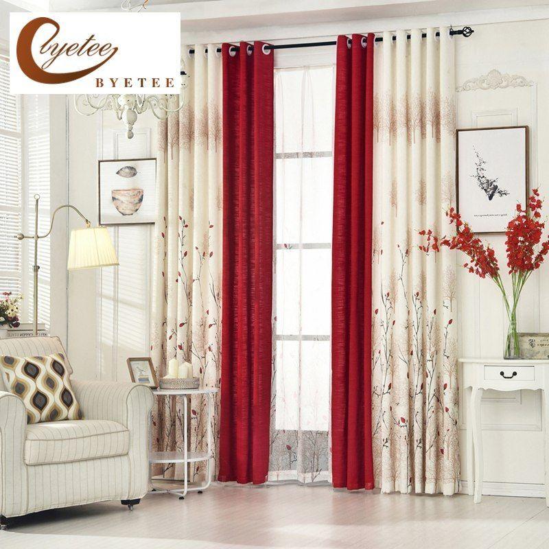Barato Byetee Cortinas De Lino Pastoral Para Sala De Estar Cortinas De Dormitorio Cortinas R Red Curtains Living Room Curtains Living Room Living Room Drapes
