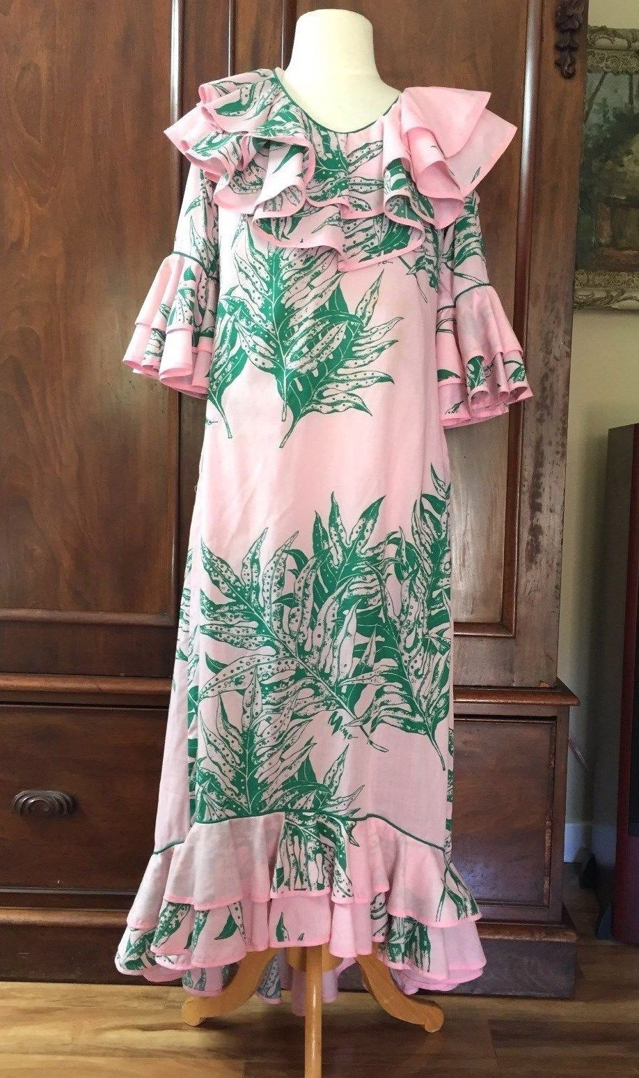 Vintage Mamo Muu Muu Mumu Mary Howell Hawaiian Long Lounge Dress ...