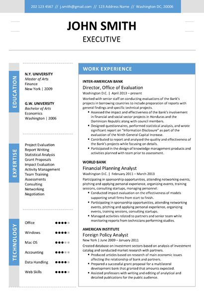 Find the Blue Executive Resume Template on wwwcvfolio