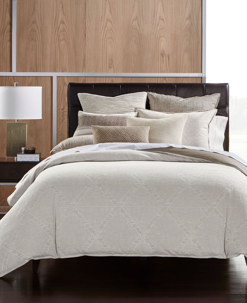 Hotel Collection Pebble Diamond Beige Cotton King Duvet Comforter Cover 420