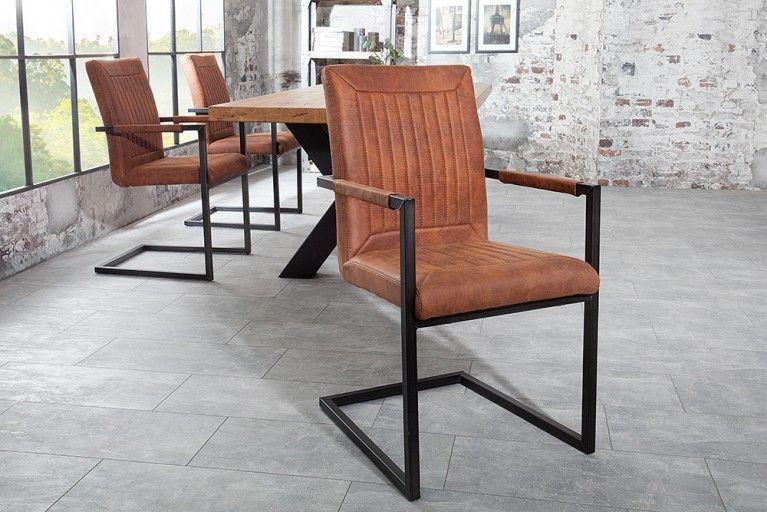 Design freischwinger stuhl bristol vintage light brown mit for Design stuhl freischwinger piet 30