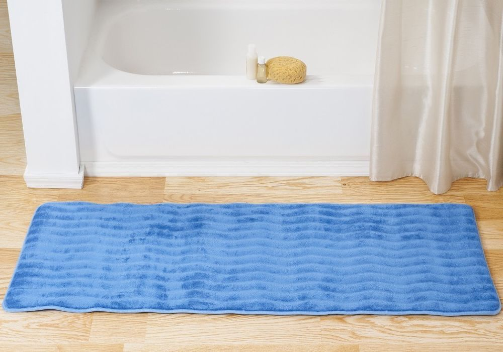 Memory Foam Extra Long Blue Bath Mat Decor With Non Skid Backing