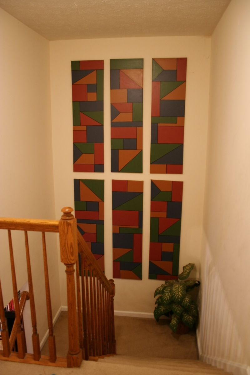 Best Decorating A Stairwell Landing With Custom Home Made Art 400 x 300