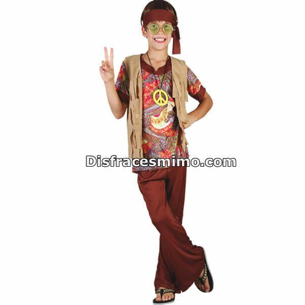 Disfracesmimo disfraz hippie chaleco marron ni os for Disfraces de los anos 60