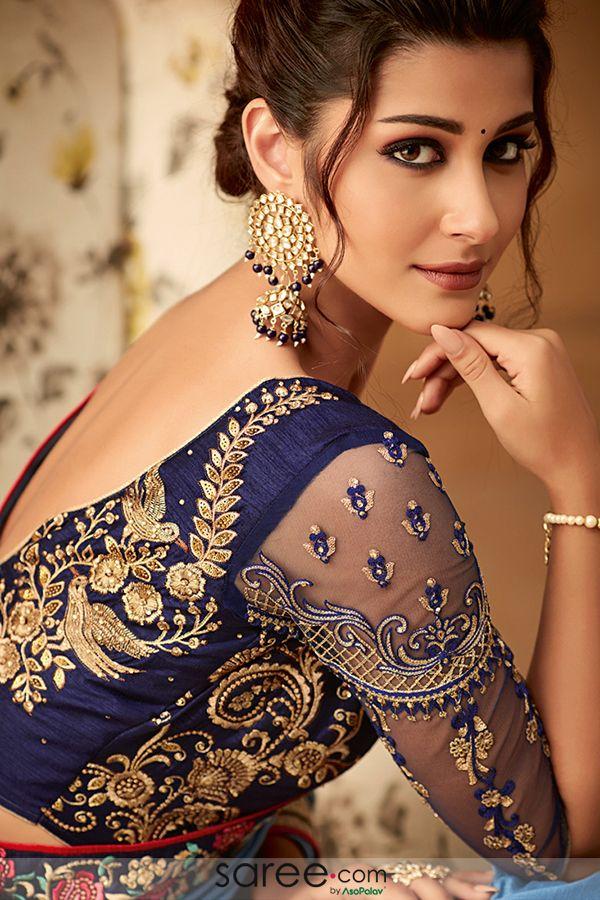 Blue Embroidered Blouse Design Saree designs