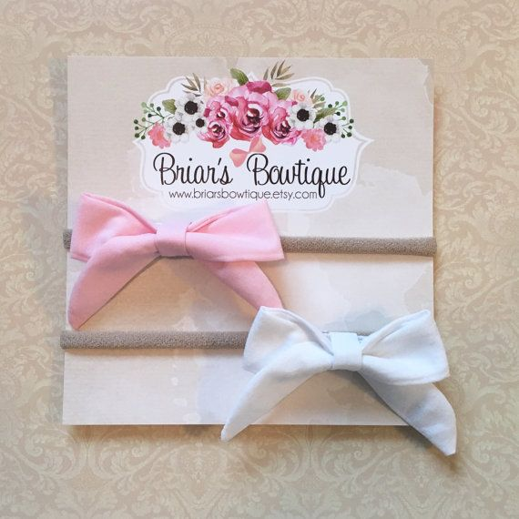 Pink and white bows on nylon headband  fabric bows on nude nylon headband   light pink bow  white bow 8c223a14dc3