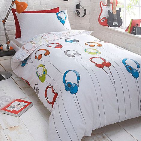 This white bedding set from bluezoo has a red blue and green this white bedding set from bluezoo has a red blue and green headphones print design gumiabroncs Images