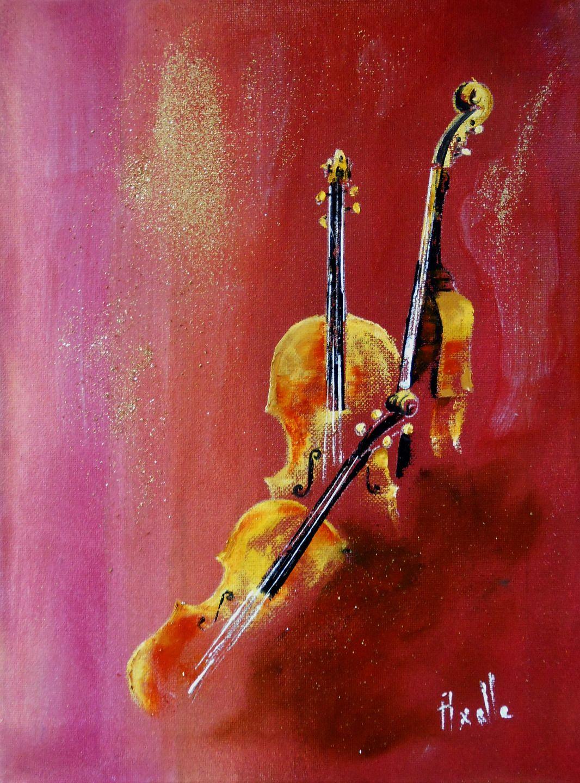 Tableau trio de violons peinture l 39 huile sur acrylique for Peinture acrylique