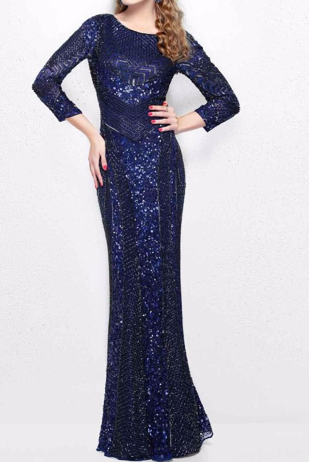 6e0b1bc508 Primavera Long Sleeve Navy Beaded Evening Gown 1683 | Poshare Shine on in  this gorgeous evening