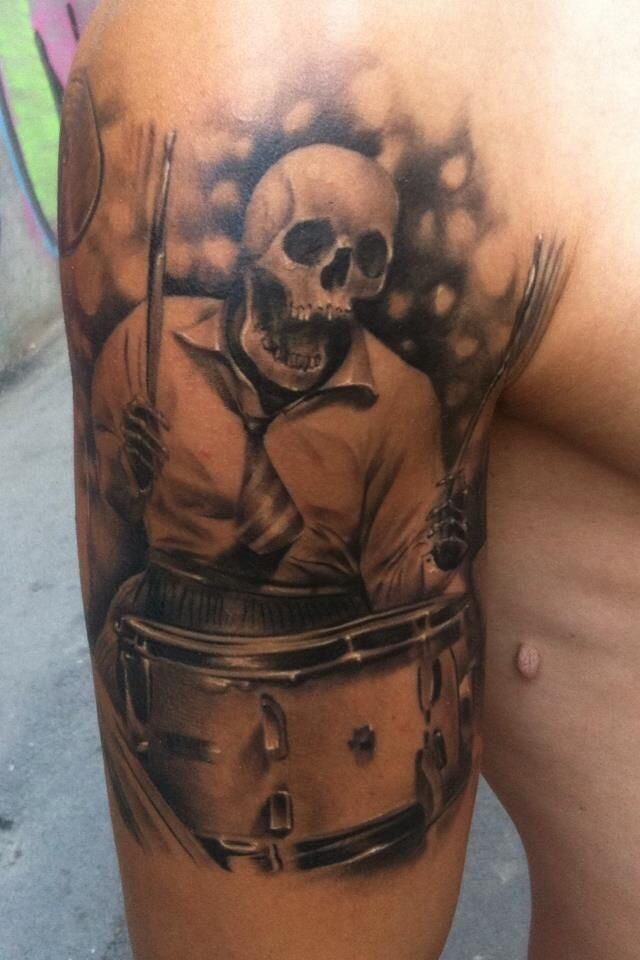 Skeleton Playing The Drums Tattoo
