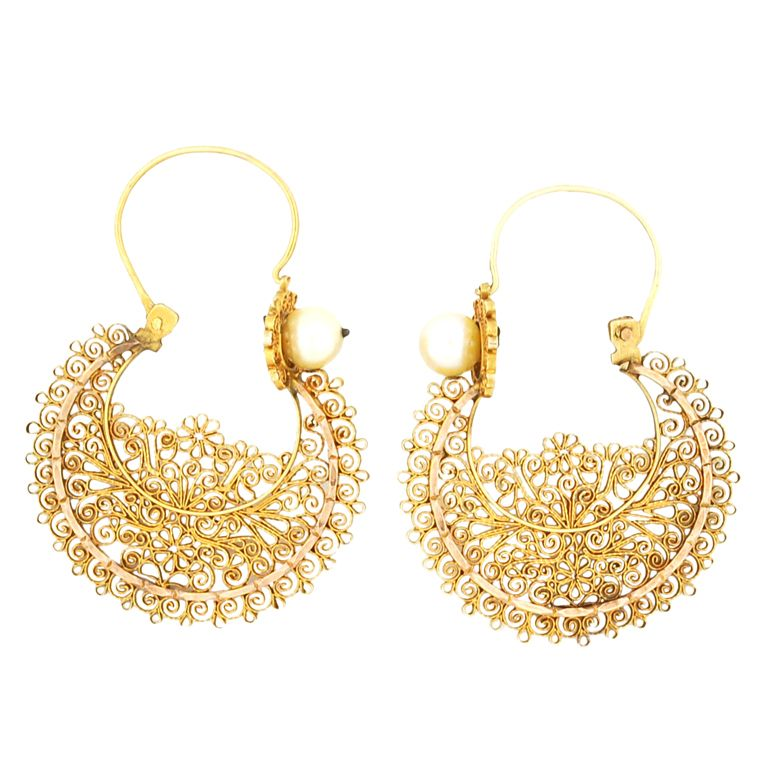 ee6a7267 Antique Gold Filigree Hoop Earrings with Natural Pearls | ♥ JEWELS ...