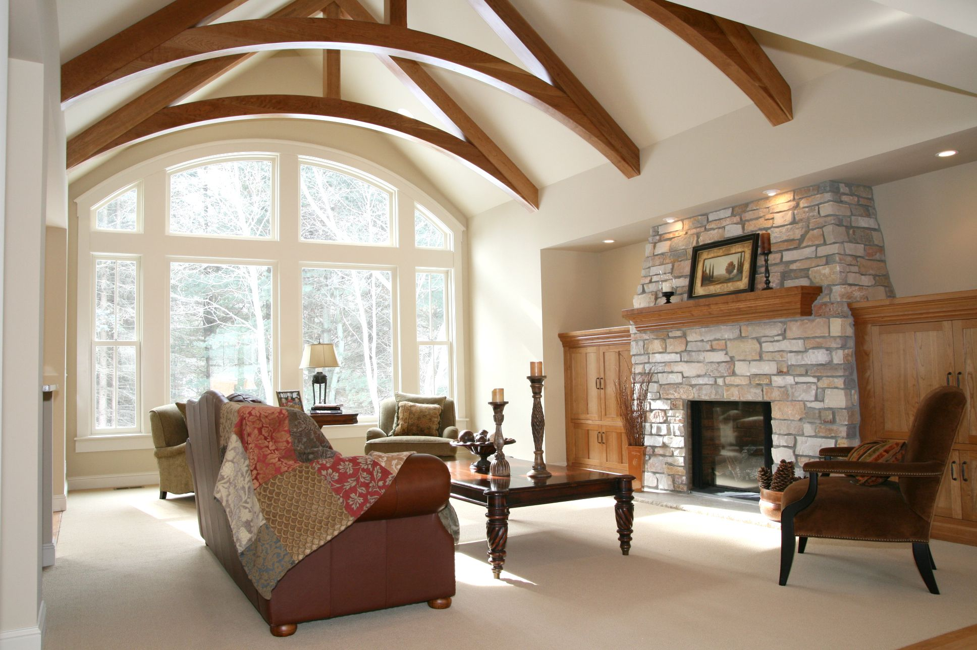 Great room with high stone fireplace great room wow for Great room fireplace