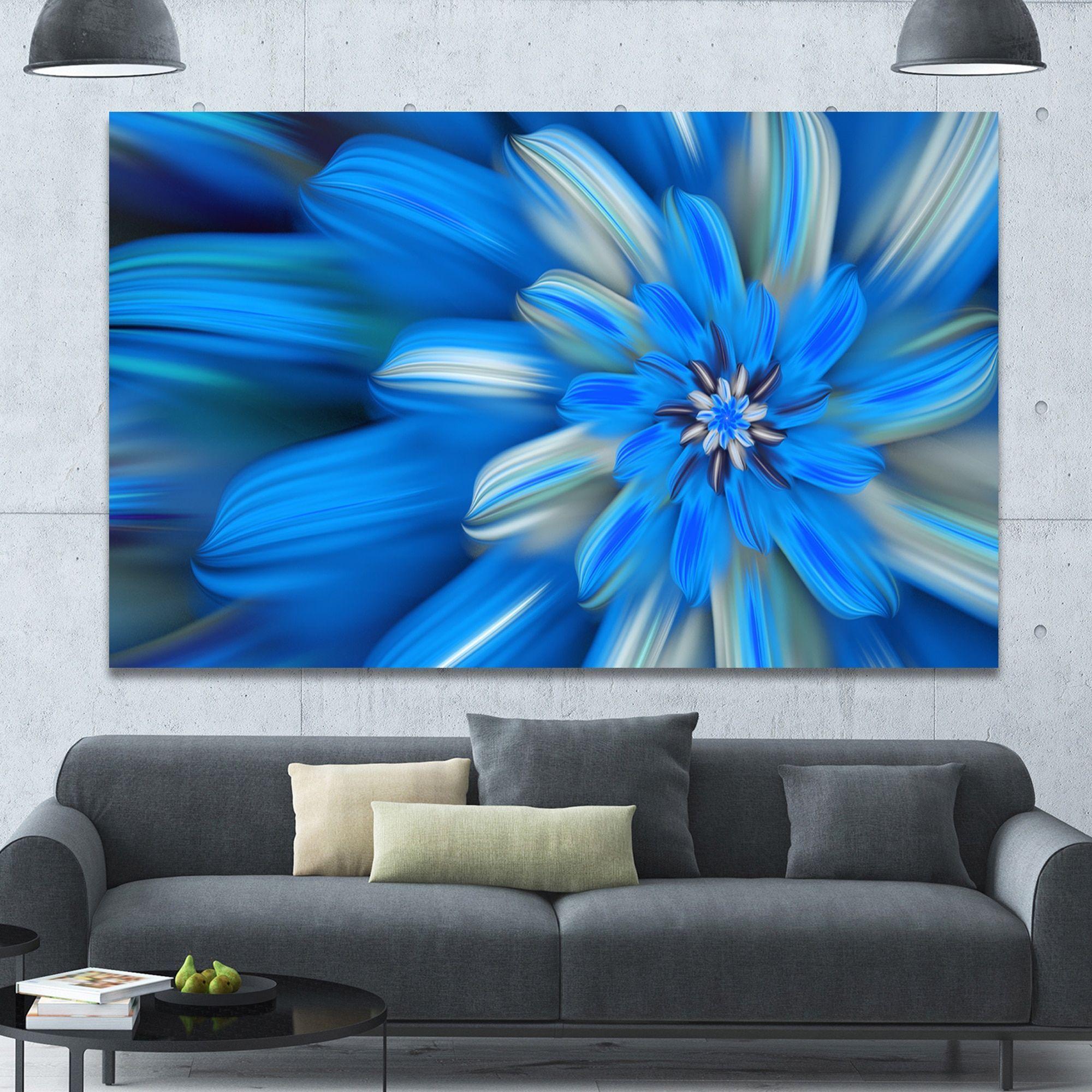 Designart uexotic dance of blue flower petalsu extra large floral
