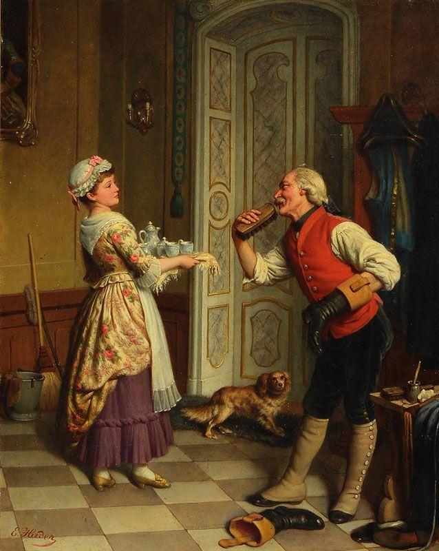 Genremalerei  Ernst Hader, erwähnt zw. 1866 - 1922, Porträt und Genremaler in ...