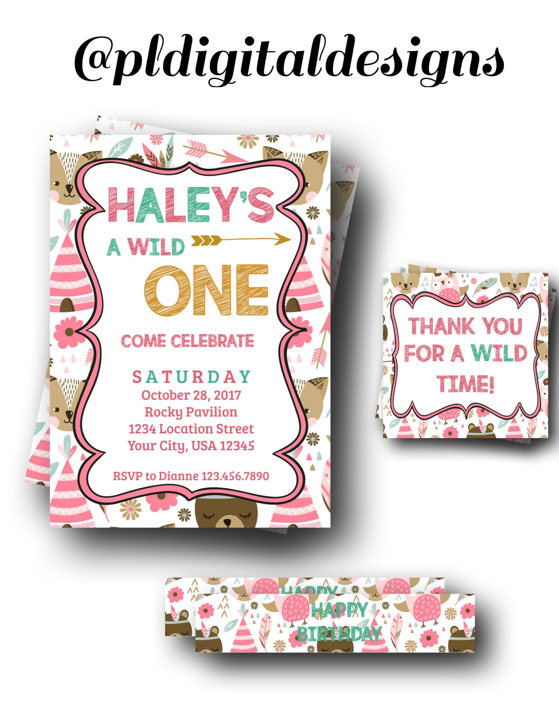 Girls Wild One Party Invitation Wild One Party Theme First