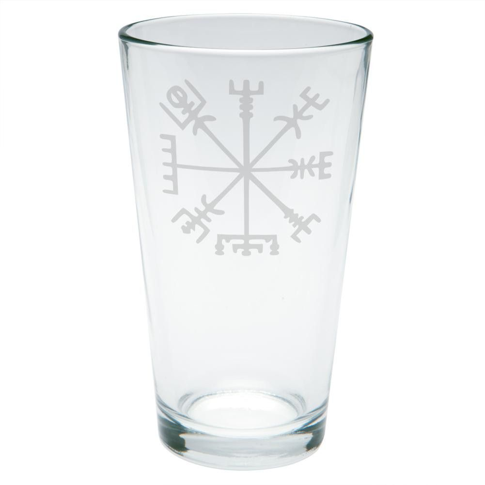 Vegvisir Viking Storm Compass Etched Pint Glass