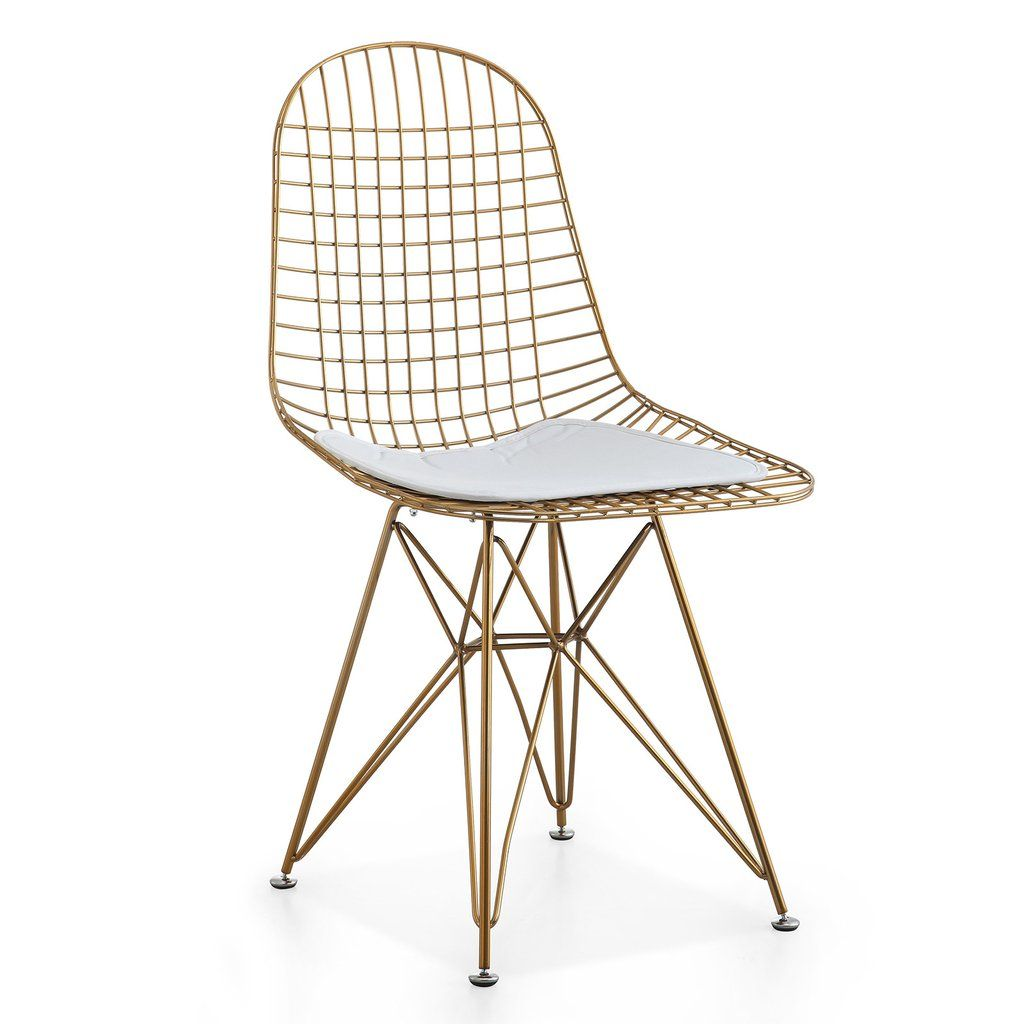 M37 Gold Wire Chair Set Of Two Color Options Chair Cushions