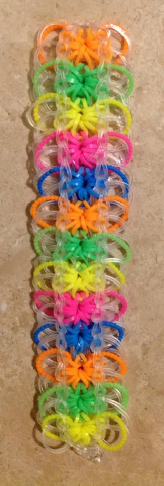 rainbow loom starburst with beaded bands and rings