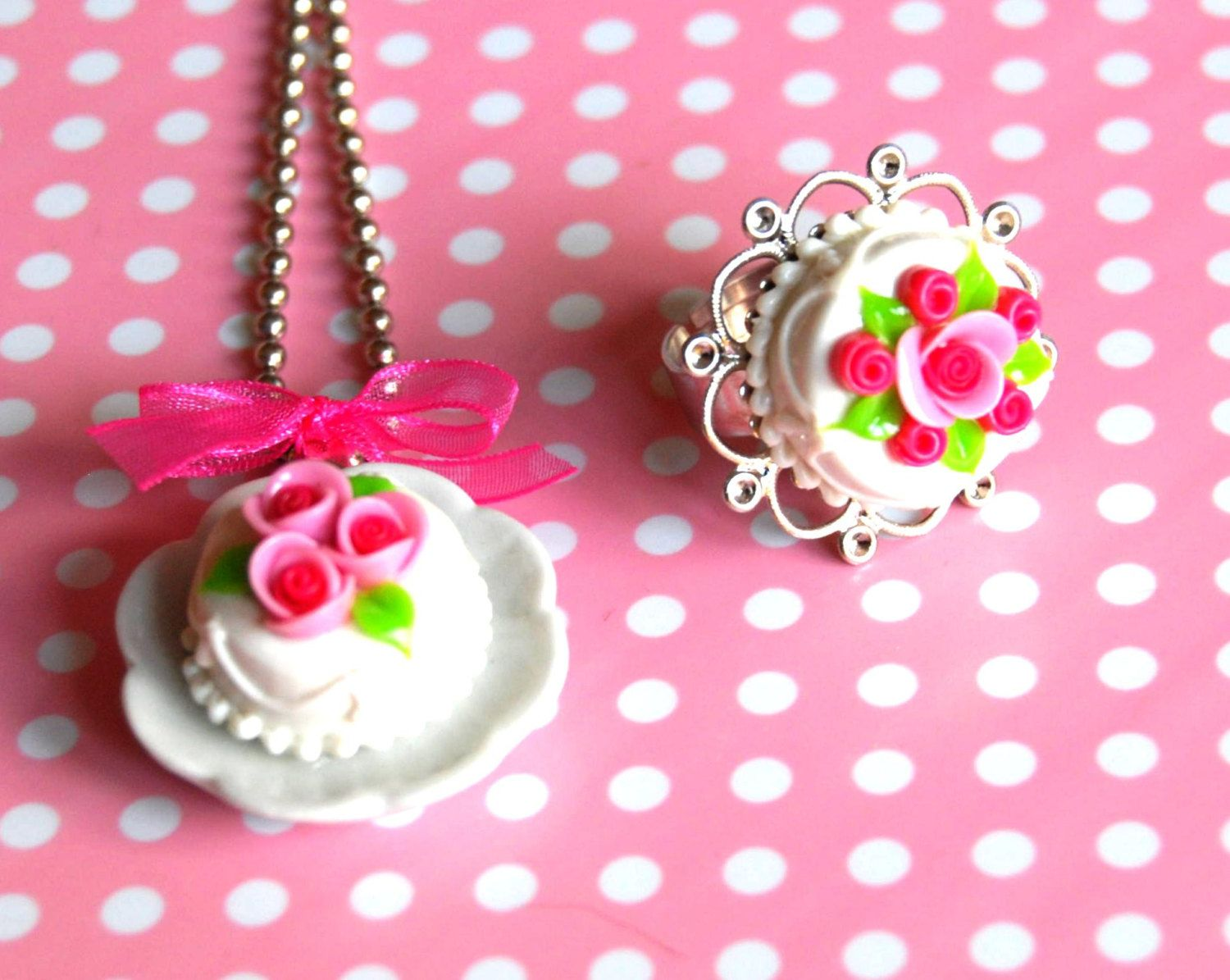 Best Friends Vanilla cake with strawberry rose sugar necklace and ring - Miniature Food Jewelry - Food Jewelry. $15.00, via Etsy.