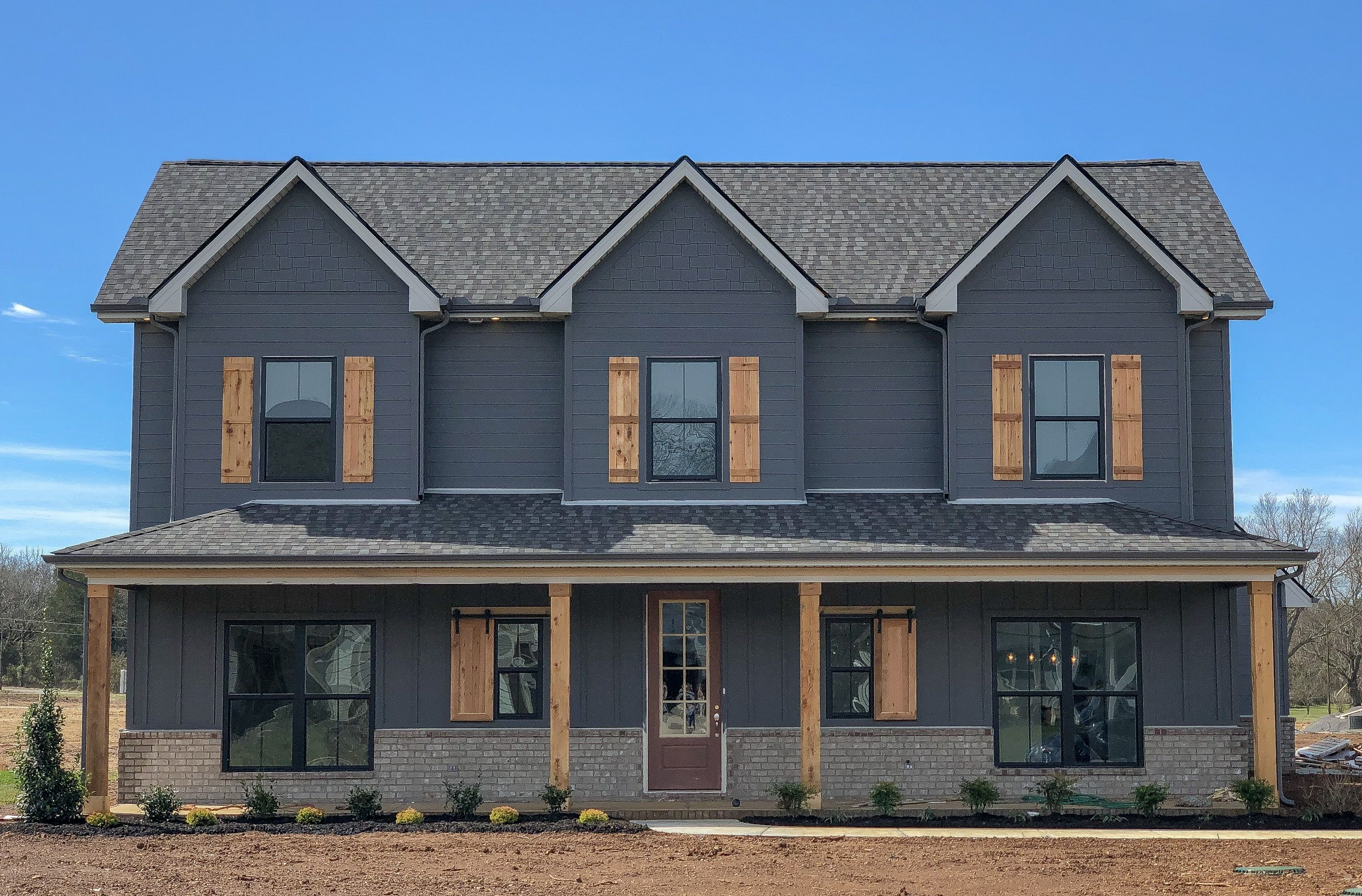 Beautiful Craftsman Farmhouse Home With Charcoal Hardie Board