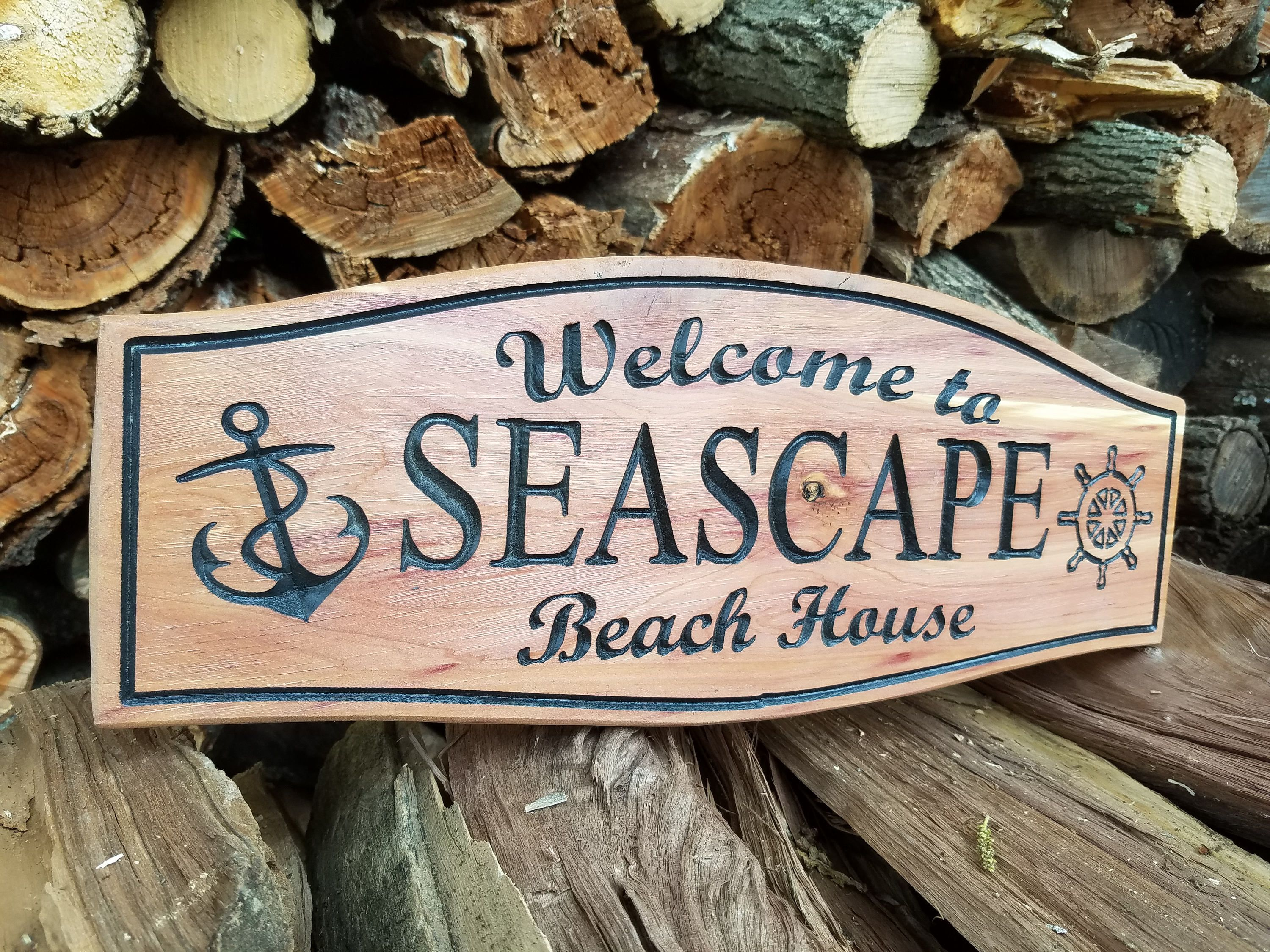 Outdoor Beach House Sign Personalized Wooden Carved Welcome Sign House Sign Beach House Signs Beach Signs Decor Beach Signs