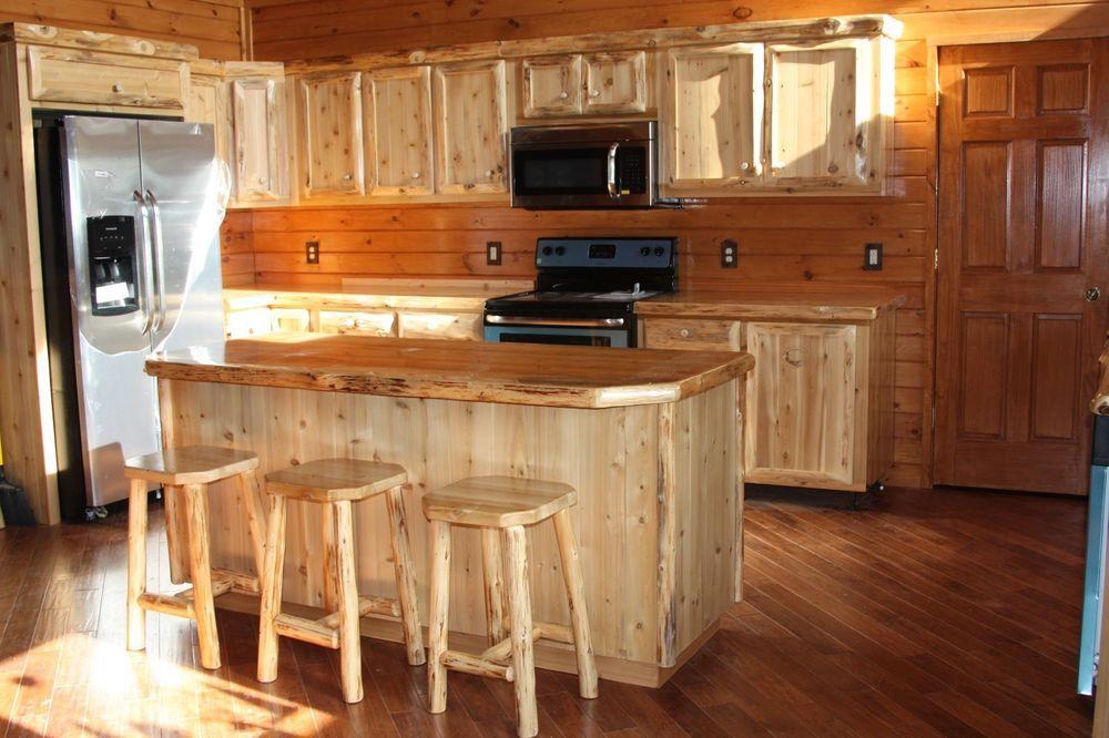 Rustic Log Cabin Lodge Custom Cedar Wood Kitchen Cabinets