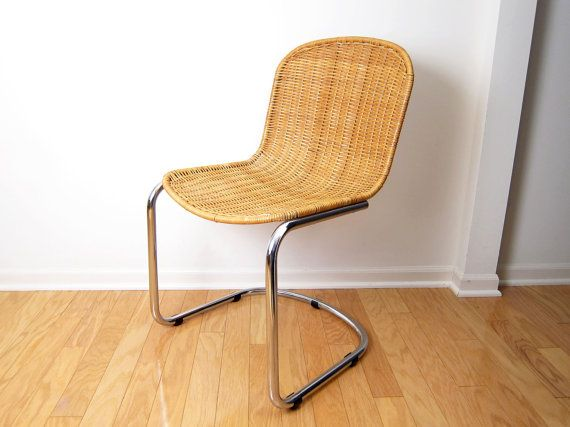 Cidue Italy Chrome And Rattan Chair Cantilever Breuer Style Wicker  Mid Century Modern Side Chair