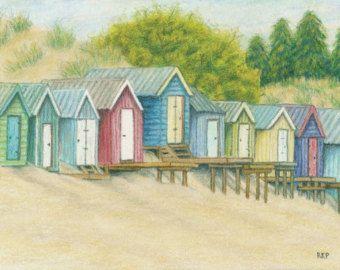 Original Art Colored Pencil Drawing Of Beach Huts In Wales Malerei Kunst Malvorlagen