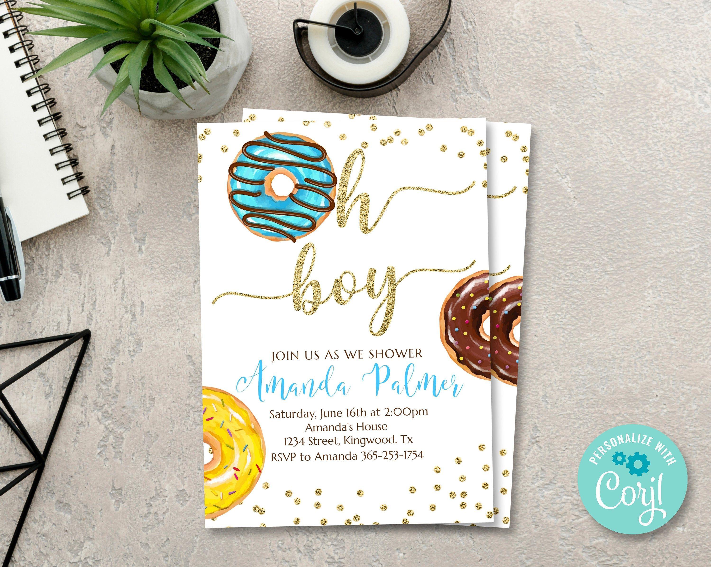 Donut Baby Shower Invitation Oh Boy