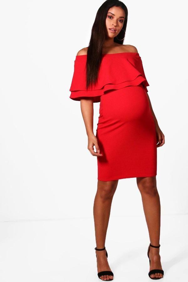 185f12f1e85e3 boohoo Maternity Ivy Off Shoulder Frill Bodycon Dress, #ad ...