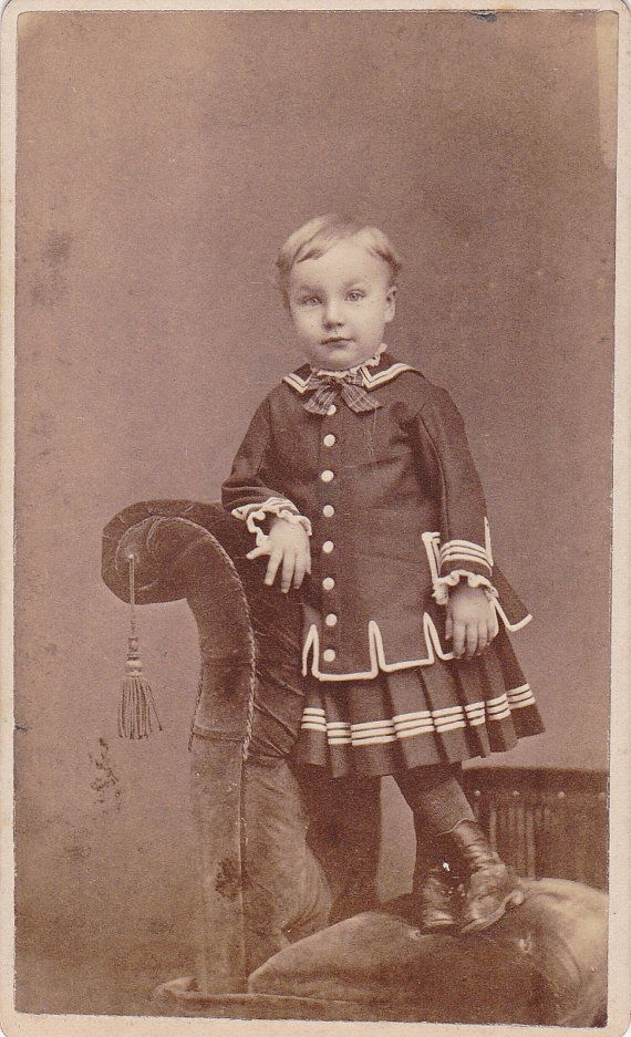 2 1 X 4 In This Is An Original Vintage Carte De Visite Photograph From The 1800s It Shows A Handsome Little Boy Fancy Dress Look On His Face