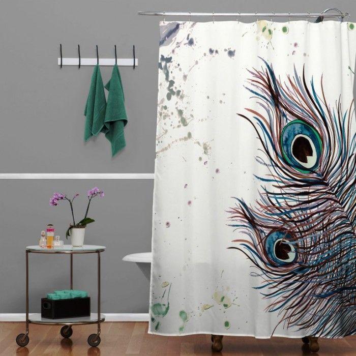 Monika Strigel Boho Peacock Feathers Shower Curtain Peacock