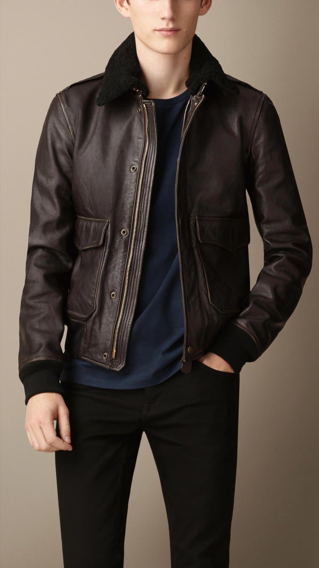 Burberry Leather Aviator Jacket With Shearling Collar Mensfashionrugged Leather Flight Jacket Stylish Leather Jacket Leather Jacket Men [ 1849 x 1040 Pixel ]