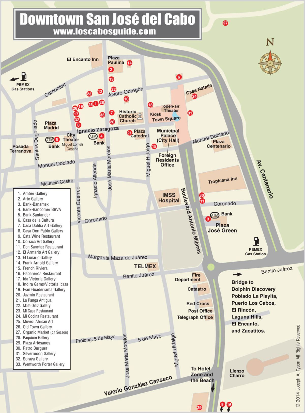 Downtown San Jose Del Cabo Map Los Cabos Guide Cabo San Lucas - Map of usa showing san jose