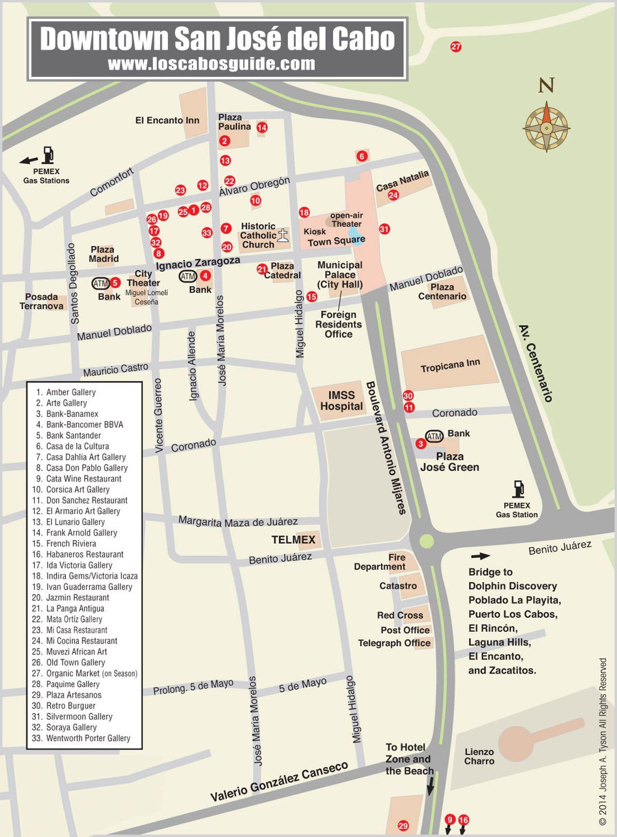 San Jose Del Cabo Mexico Map.Downtown San Jose Del Cabo Map Los Cabos Guide Cabo San Lucas