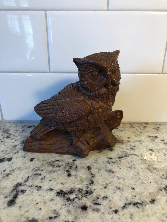 Vintage  Log Owl ~ Red Mill MFG ~ brown owl decor ~ figuring ~ knick knack #knickknack
