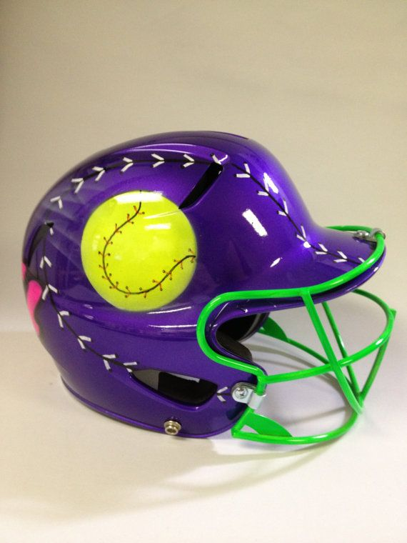 Airbrushed Quot Ball And Bat Quot Batting Helmet And Facemask Baseball T Ball Youth Softball Pers Softball Helmet Girls Softball Personalized Softball