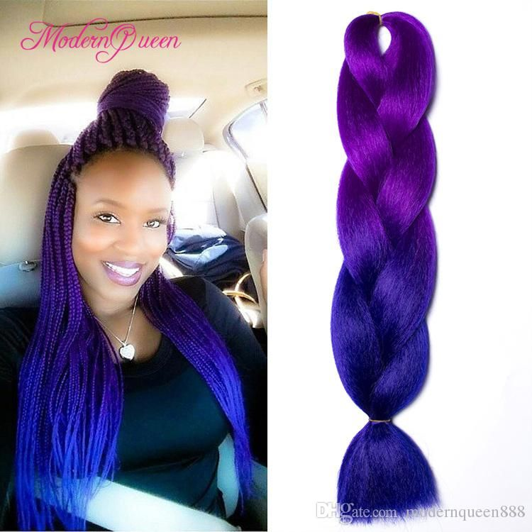 Kanekalon Ombre Braiding Hair Synthetic Crochet Braids Twist 24inch 100g Ombre Two Tone Jumbo Braid Hair Extensions More Colors Wholesale Bulk Hair For Braiding Braided Hairstyles Box Braids Styling Braid In