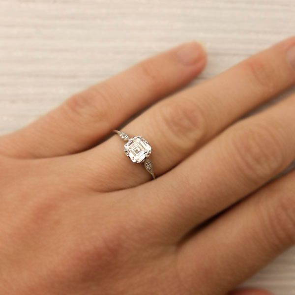 1.01 Carat Asscher Cut Diamond Engagement Ring by Tiffany and Co   New York  Vintage &
