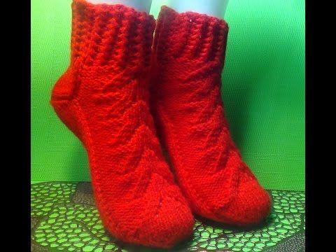 вязание спицами женские носки на двух спицах Youtube носки