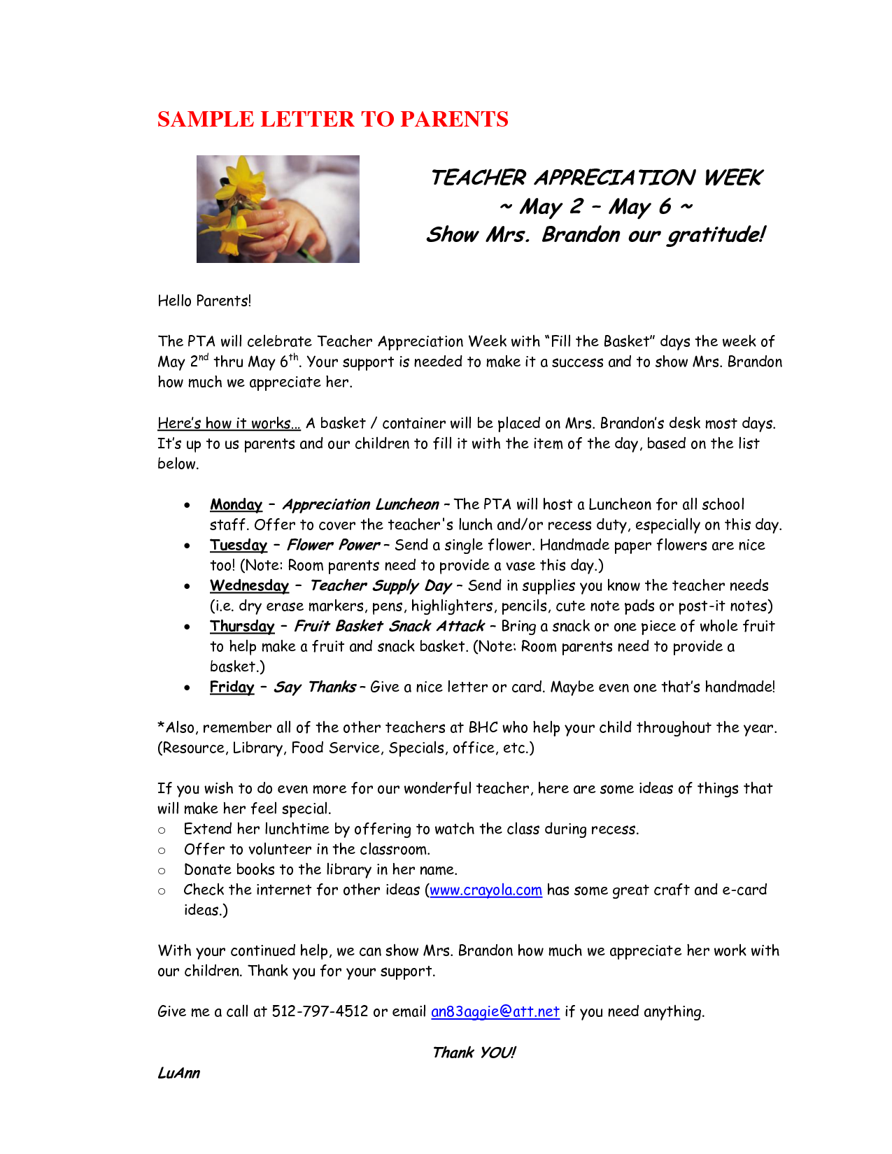 teacher appreciation sample letter