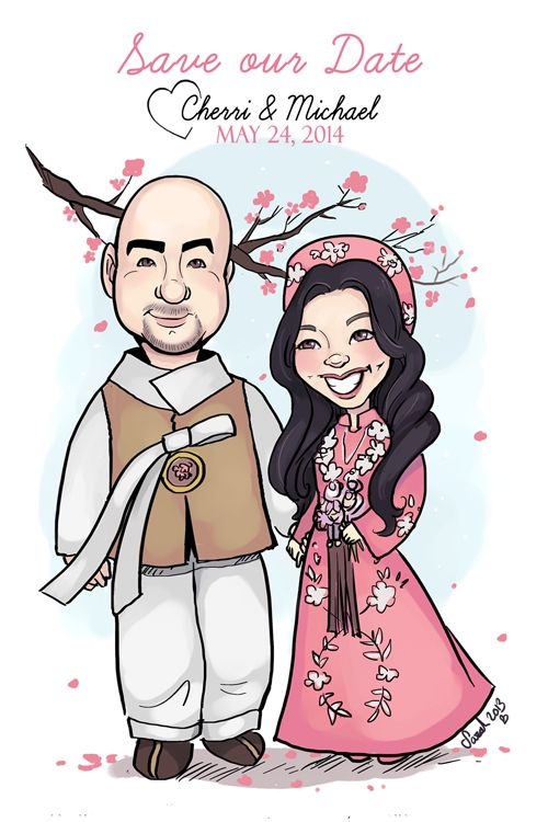 One of my favorite wedding caricatures to date. I loved the asian theme and cherry blossoms :)