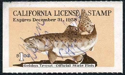California Fishing License Stamp Golden Trout Official State Fish Expires Dec 31 1958 Fish Stamp Trout